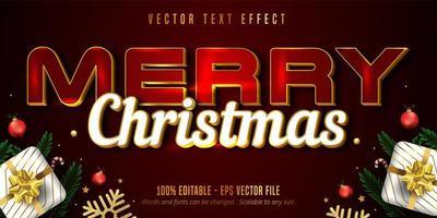 texte de joyeux Noël, effet de texte modifiable de style doré de luxe sur fond texturé de couleur rouge vecteur