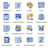 icônes de sondage Web dans un style plat. vecteur
