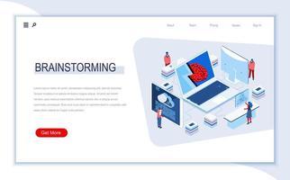 page de destination isométrique de brainstorming