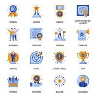 icônes de réussite commerciale définies dans un style plat.