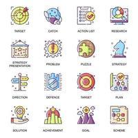 ensemble d'icônes plat stratégie commerciale. vecteur
