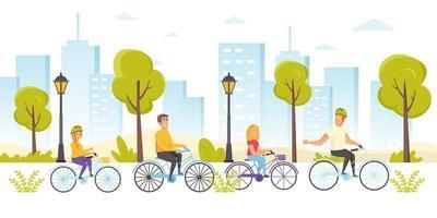 amis heureux à bicyclette vecteur
