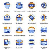 icônes de réalité virtuelle définies dans un style plat. vecteur