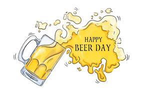 Aquarelle bière Jour Splash à la bière vecteur