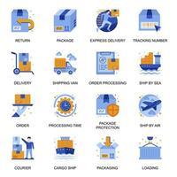 icônes de service de livraison définies dans un style plat. vecteur