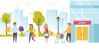 les accros du shopping ou les consommateurs avec des sacs à provisions vecteur