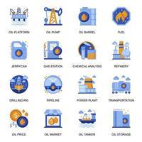 icônes de l'industrie pétrolière définies dans un style plat. vecteur