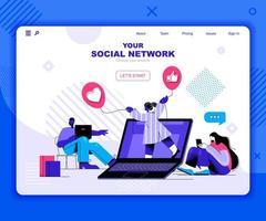 modèle de page de destination de réseau social vecteur