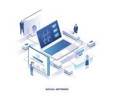 conception isométrique des médias sociaux vecteur