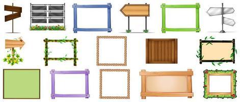 ensemble de divers types de panneaux et de bannières