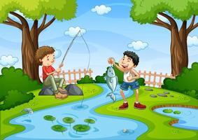deux garçons pêchant dans une scène de ruisseau