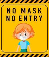 pas de masque pas de panneau d'avertissement d'entrée avec personnage de dessin animé vecteur