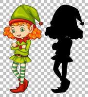 personnage de dessin animé elfe et sa silhouette vecteur