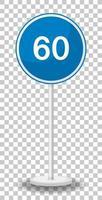 Panneau de signalisation de limite de vitesse minimale bleue 60