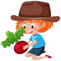 personnage de dessin animé enfants tenant radis