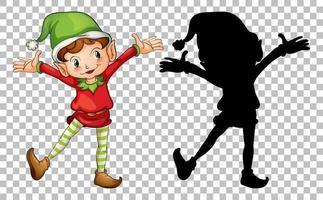 elfe heureux et sa silhouette vecteur