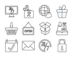 jeu d'icônes de marketing et de commerce électronique vecteur