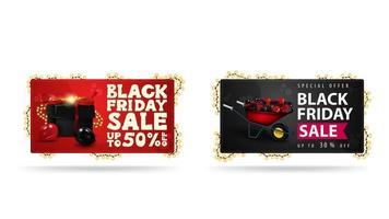 bannières horizontales rouges et noires avec des cadeaux vecteur