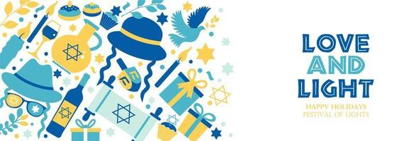 bannière de hanukkah de vacances juives