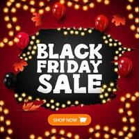 bannière de réduction de lumières de vente vendredi noir vecteur