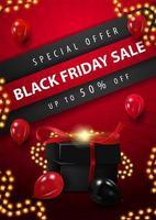 affiche de cadeaux et lumières de vente vendredi noir vecteur