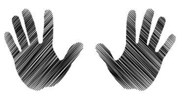 paumes gauche et droite dans le style d'esquisse