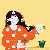 fille jardinage en pot de fleur