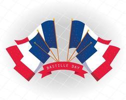 bannière de fête de la bastille avec drapeau national français