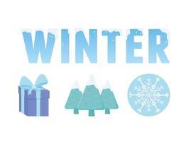 jolie collection d'icônes d'hiver vecteur