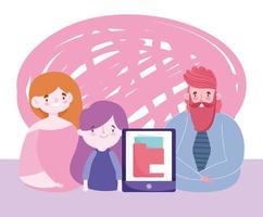 éducation en ligne avec les parents aidant aux devoirs vecteur
