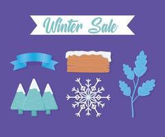 jolie collection d'icônes de vente d'hiver