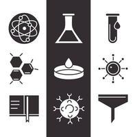 jeu d'icônes de biologie, chimie et science vecteur