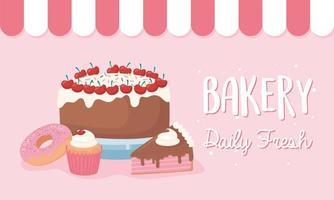 bannière de gâteau, beignet et cupcake frais tous les jours de boulangerie vecteur