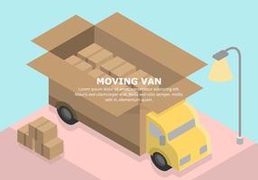 Pastel Illustration Van Moving vecteur