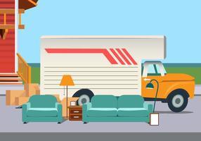Vector Moving Van avec des meubles