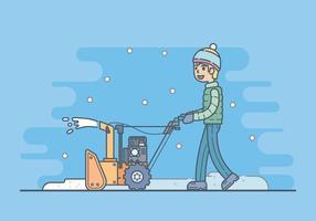 Garçon avec un Illustration Souffleuse à neige vecteur