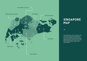 Vecteur vert Singapour Carte