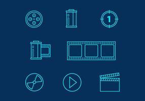 Icônes vecteur ligne Film gratuit