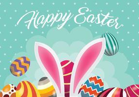 Oeuf de Pâques et lapin fond vecteur oreille