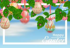 Décoratif aux œufs de Pâques suspendus à partir de rubans vecteur