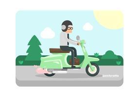 Mint Green Lambretta avec Illustration Rider
