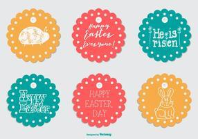 Round mignon de Pâques Étiquettes de cadeau vecteur