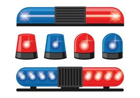 Police Lumières Vector Icons Set
