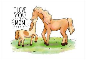 Cheval vecteur Maman et Bébé Câlin pour la Fête des Mères