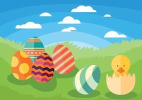 Arrière-plan vecteur poussin de Pâques