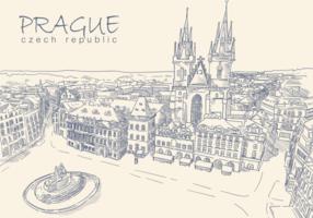Vecteurs main libre Prague Drawn vecteur