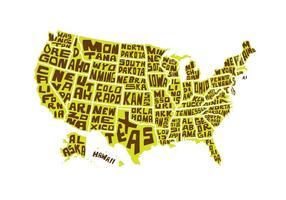 Vecteur libre de mots USA Carte