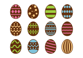 Chocolat de Pâques Oeufs icônes vecteur