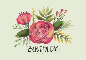 Roses roses mignons d'aquarelle et des feuilles avec citation