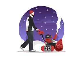 L'homme avec un vecteur Illustration Souffleuse à neige